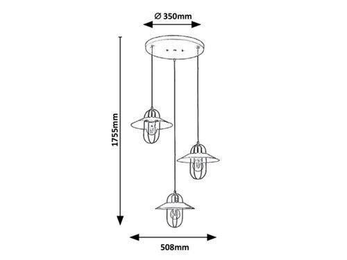 LAMPA WISZĄCA NA KOLE ZŁOTO BEŻOWA INDUSTRIALNA RABALUX 3520 NESRIN