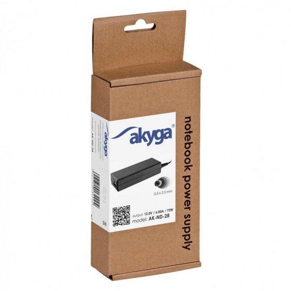 Zasilacz sieciowy Akyga AK-ND-28 do notebooka 12V/6,0A 72W 5.5x2.5 mm
