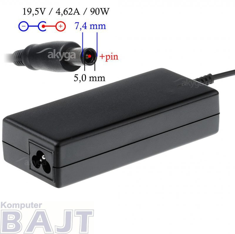 Zasilacz sieciowy Akyga AK-ND-07 do notebooka 19,5V/4,62A 90W 7.4x5.0mm + pin