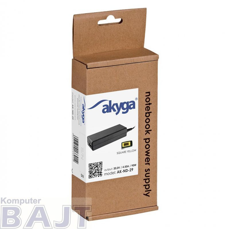 Zasilacz sieciowy Akyga AK-ND-29 do notebooka 20V/4,5A 90W Square yellow