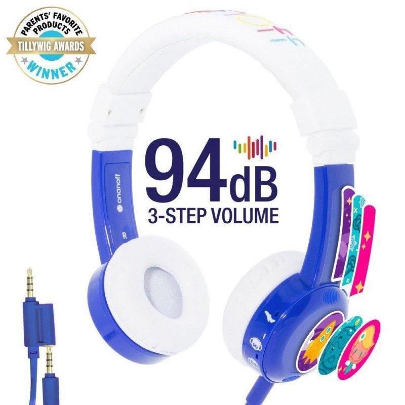 Słuchawki z mikrofonem BuddyPhones InFlight Blue dla dzieci 75/85/94dB