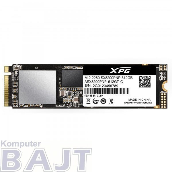 Dysk ADATA XPG SX8200 PRO ASX8200PNP-512GT-C (512 GB ; M.2; PCIe NVMe 3.0 x4)