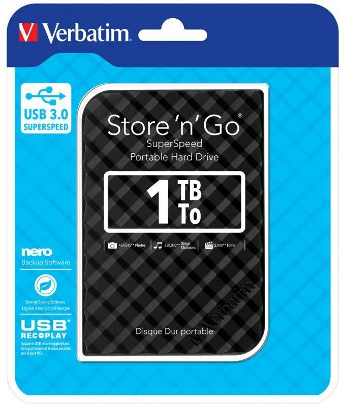 """Dysk zewnętrzny Verbatim Store 'n' Go 53194 (1 TB; 2.5""""; USB 3.0; 5400 obr/min; kolor czarny)"""