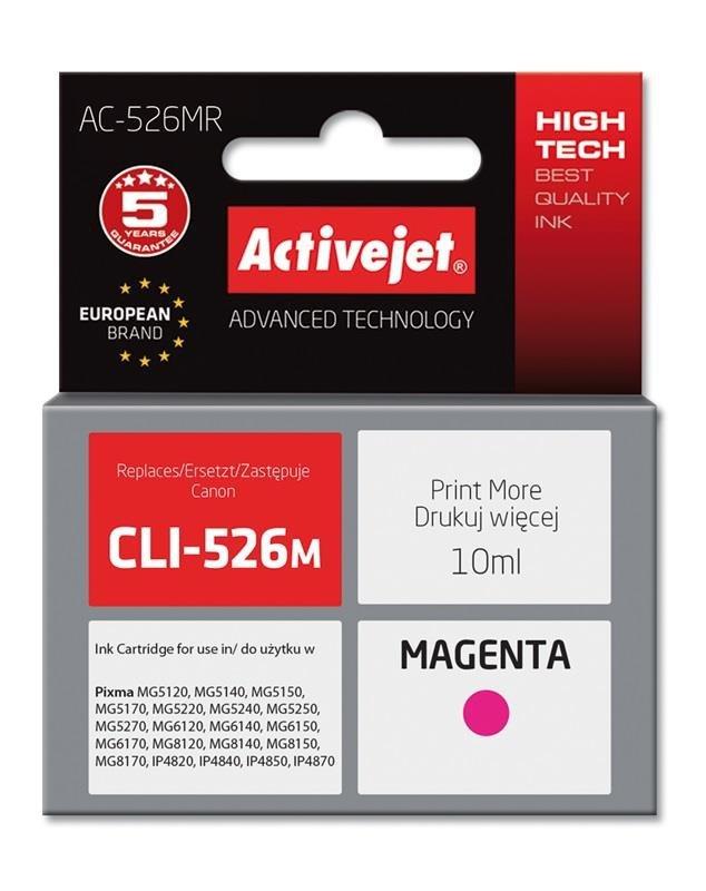 Tusz Activejet AC-526MR (zamiennik Canon CLI-526M; Premium; 10 ml; czerwony)