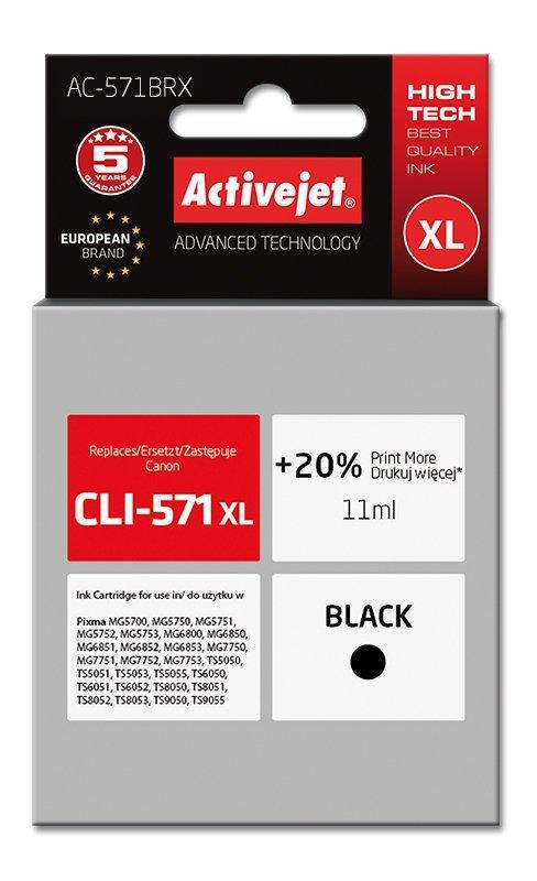 Tusz Activejet AC-571BRX (zamiennik Canon CLI-571XL; Premium; 11 ml; czarny)