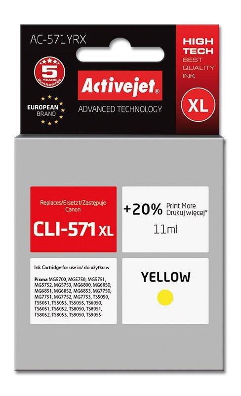 Tusz Activejet AC-571YRX (zamiennik Canon CLI-571XL; Premium; 11 ml; żółty)