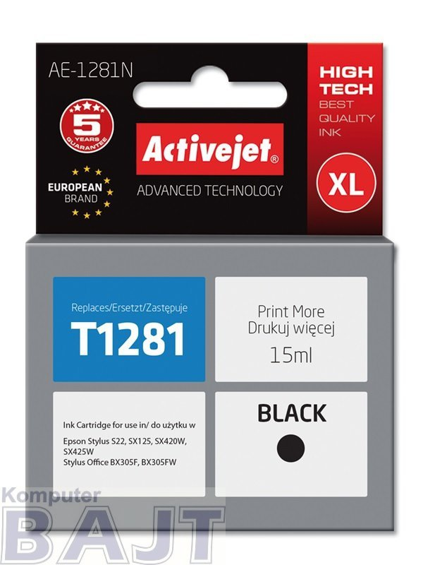Tusz Activejet AE-1281N (zamiennik Epson T1281; Supreme; 15 ml; czarny)
