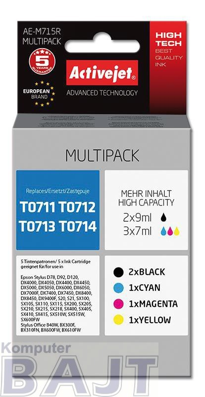 Tusz Activejet AE-M715R (zamiennik Epson T0715; Premium; 2 x 9 ml, 3 x 7 ml.; czarny, czerwony, niebieski, żółty)