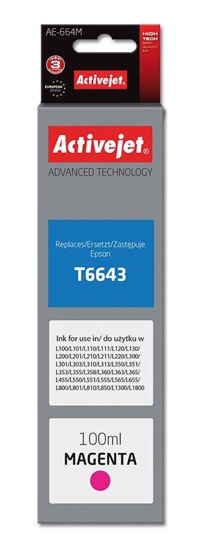 Tusz Activejet AE-664M (zamiennik Epson T6643; Supreme; 100 ml; czerwony)