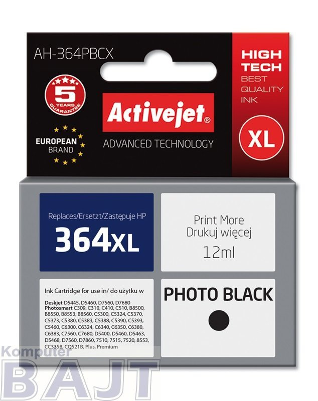 Tusz Activejet AH-364PBCX (zamiennik HP 364XL CB322EE; Premium; 12 ml; czarny, foto)