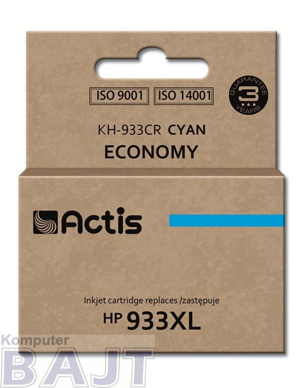Tusz ACTIS KH-933CR (zamiennik HP 933XL CN054AE; Standard; 13 ml; niebieski)