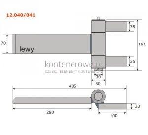 12.040 Zawias kontenera 405x181 lewy