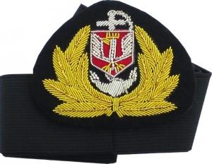 emblemat z otokiem do czapki Marynarka Handlowa haft ręczny