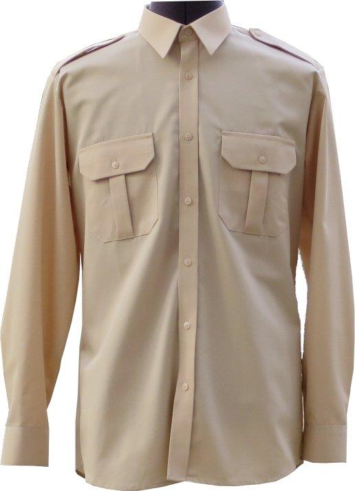 koszulo-bluza mundurowa z długimi rękawami koloru beżowego