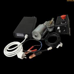 Zestaw napędu wirówek ABB z motoreduktorem, sterownikiem i zasilaczem.