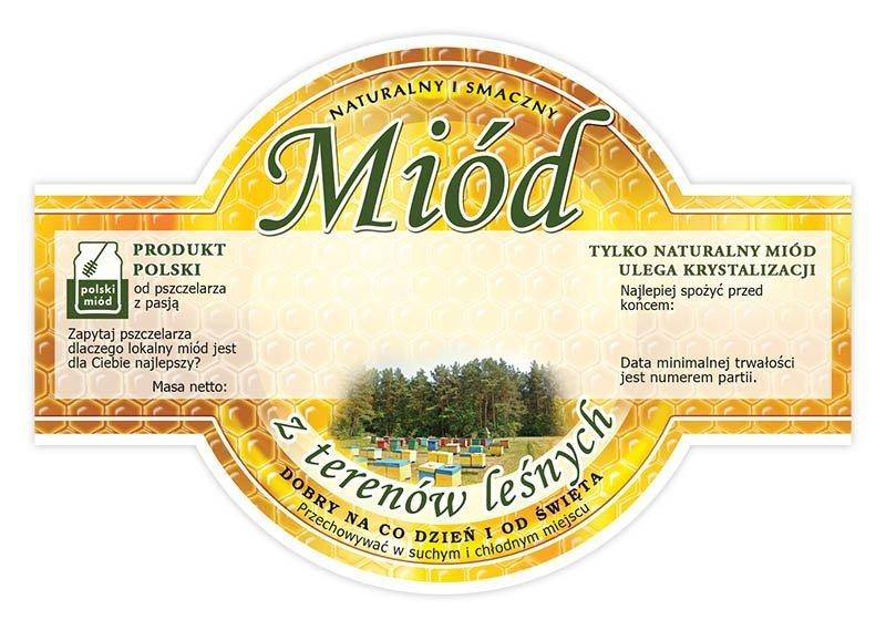 Paczka etykiet okrągłych na miód z terenów leśnych (100szt)