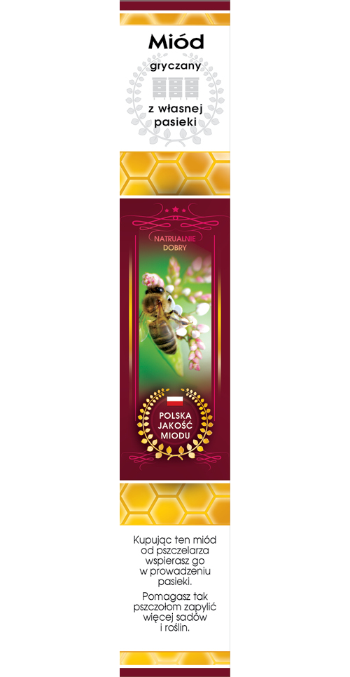 Paczka etykiet z banderolą na miód gryczany (100szt)_banderola