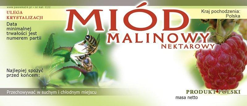 Paczka etykiet na miód malinowy 116x50 (100szt)