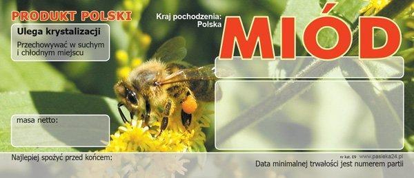 Paczka etykiet na miód uniwersalna 116x50 (100szt)