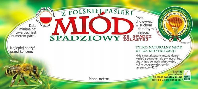Etykieta samoprzylepna na miód spadziowy ze spadzi iglastej - 100 szt.
