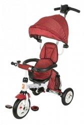 Rowerek trójkołowy - czerwony.  Pomowane koła, obracane siedzisko