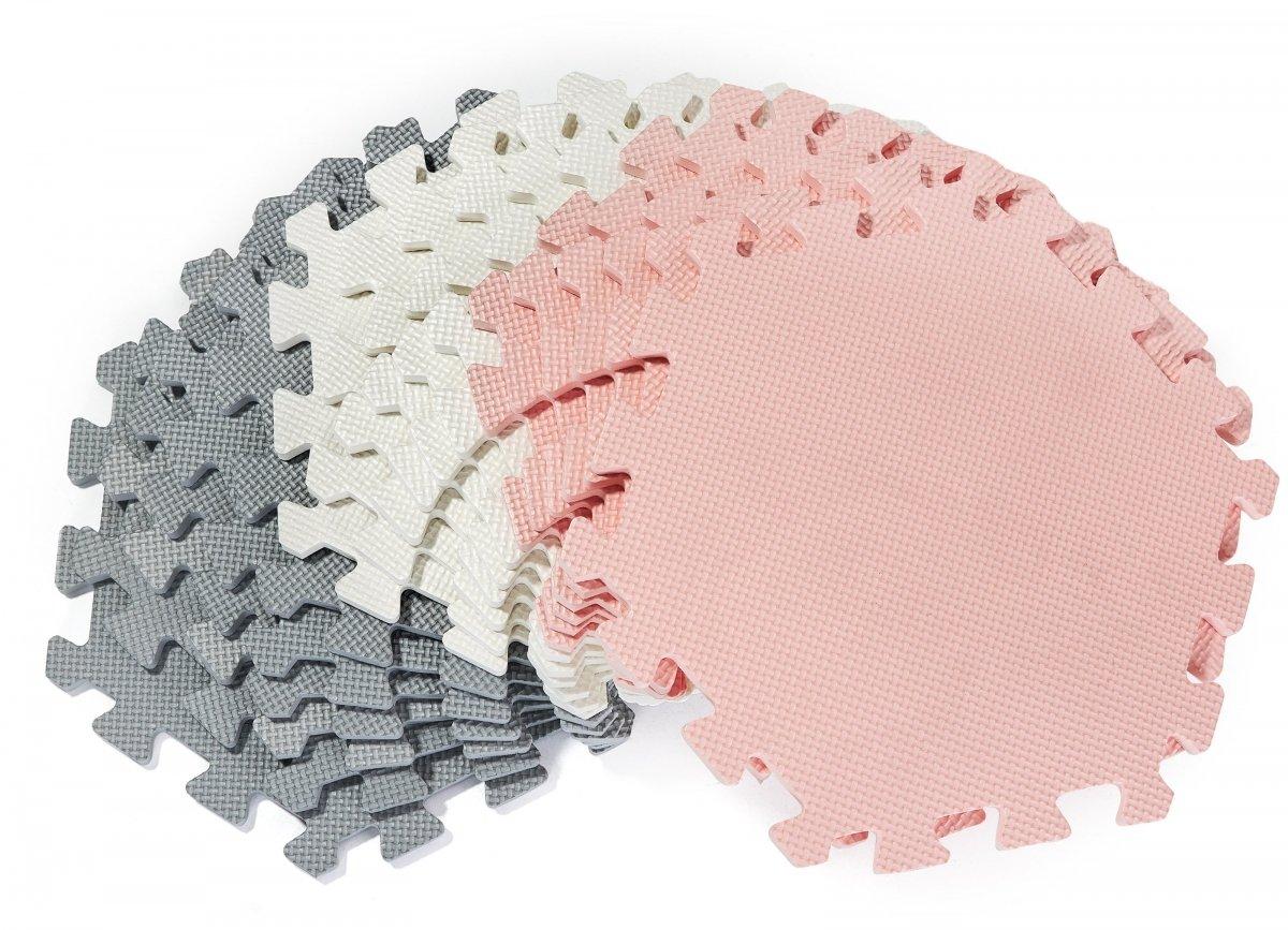Mata puzzle XXL 260 x 135 x 1 cm - z obrzeżem - pianka EVA  + torba - różowa