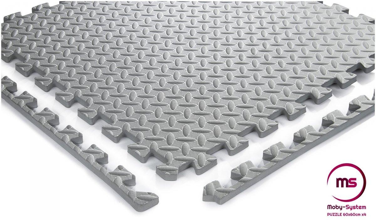 Piankowe duże puzzle 4szt. - piankowa mata do ćwiczeń na podłogę antypoślizgowa 120 x 120 x 1.2cm z obrzeżem - szara