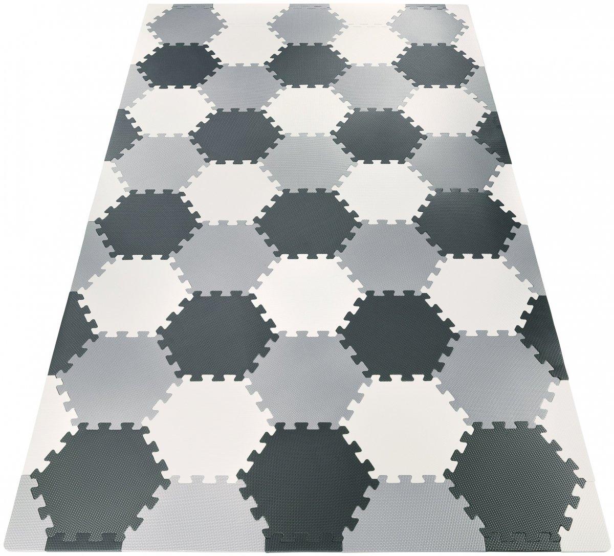 Mata puzzle XXL 260 x 135 x 1 cm - z obrzeżem - pianka EVA  + torba - szara