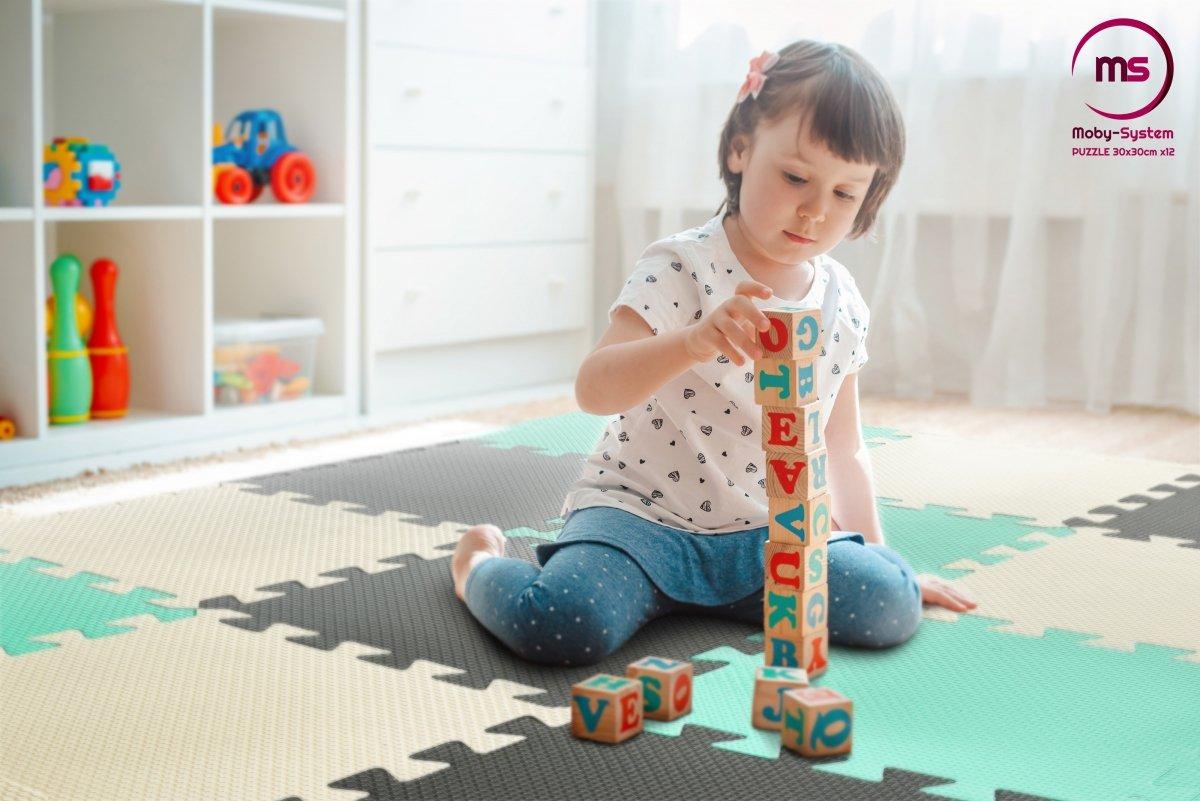 Piankowe puzzle 12szt. - piankowa mata edukacyjna 120 x 90 x 1.2cm z obrzeżem - miętowa