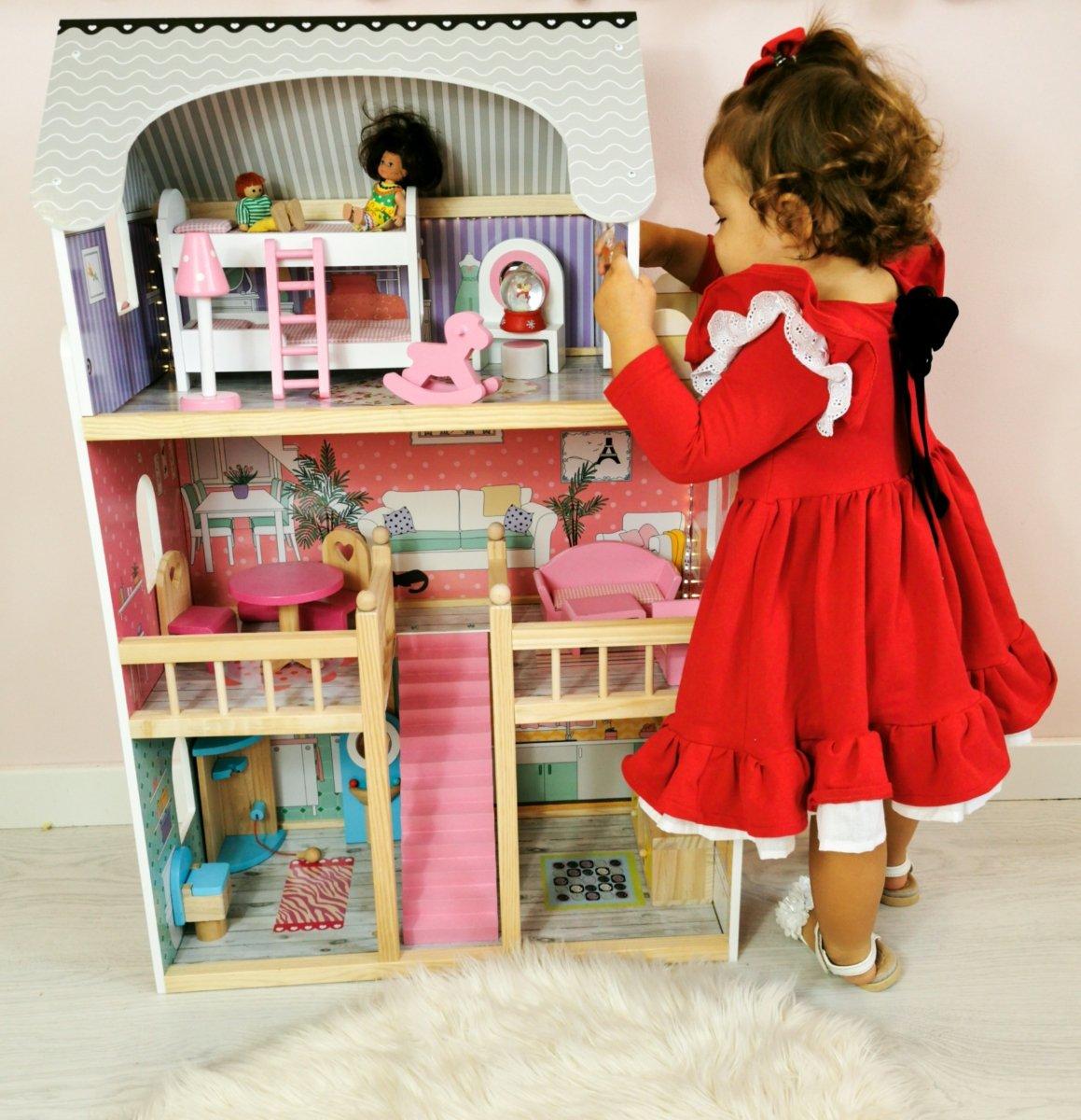 Duży drewniany 3-piętrowy domek dla lalek z tarasem, zestawem mebli i oświetleniem LED!