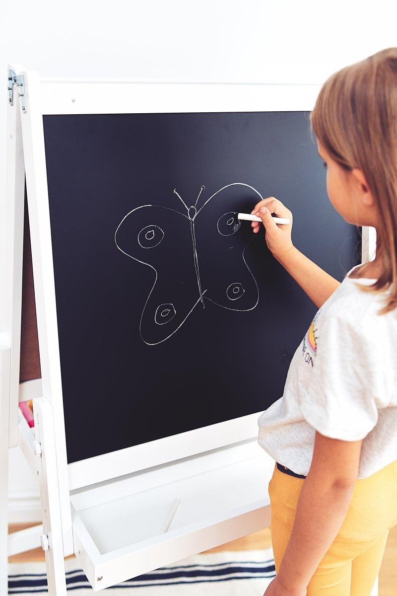 Duża regulowana tablica edukacyjna dwustronna: magnetyczna i kredowa - suchościeralna, drewniana, dla dzieci, składana