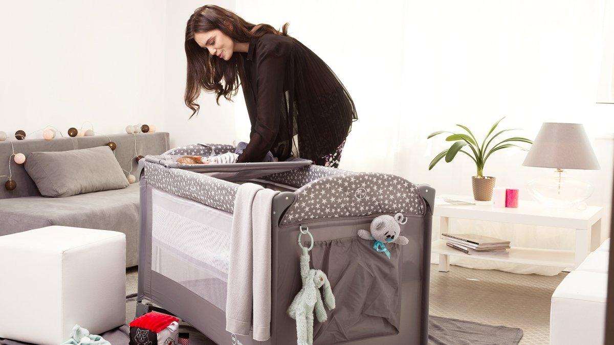 Łóżeczko turystyczne / Kojec Happy Traveller BASIC PLUS - szare