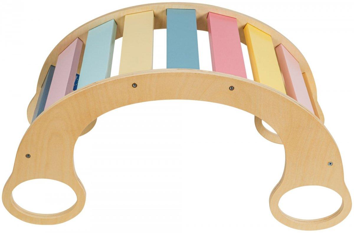 Drewniany bujak wielofunkcyjny 2w1 - huśtawka, bujaczek, równoważnia, most, rocker