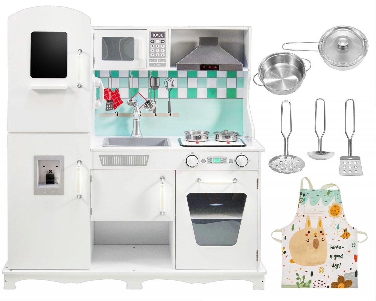 Duża drewniana biała kuchnia z akcesoriami i fartuszkiem