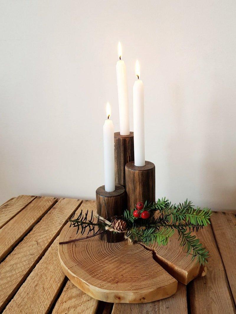 Zestaw 3 drewnianych świeczników heban