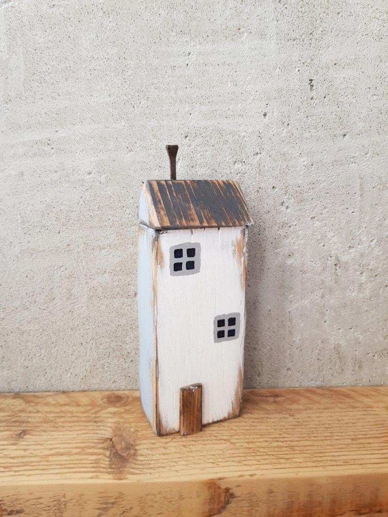 Drewniany domek biały/niebieski