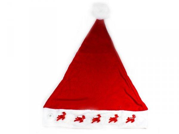 5855 CZAPKA MIKOŁAJA ŚWIECĄCA RENIFERY Świąteczna Hurt