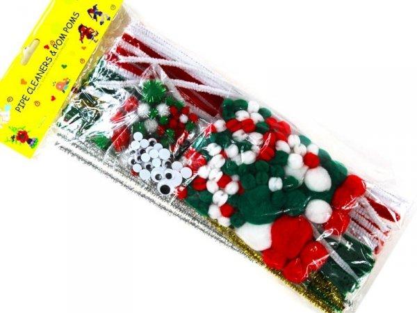 5339 ZESTAW KREATYWNY Druciki Pompony Oczka Świąteczny