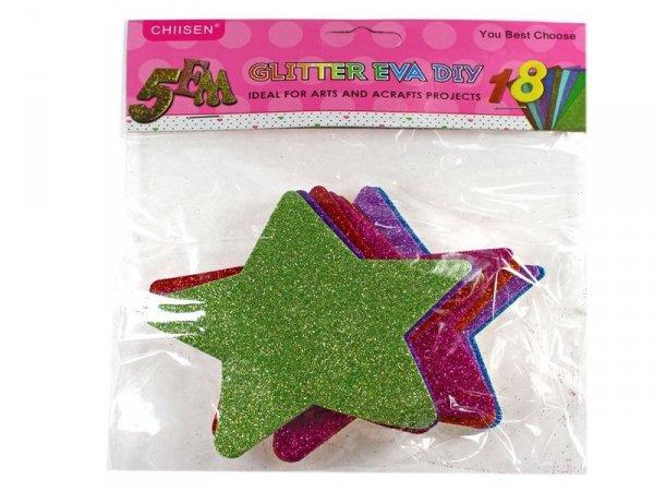 4527 GWIAZDKI NAKLEJKI BROKATOWE PIANKOWE mix kolor