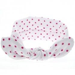 1 kIDS opaska na głowę pin up dla niemowląt biała w groszki
