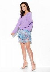 Sweter z dużym dekoltem V LS292 liliowy