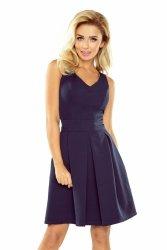 160-2 Sukienka z dekoltem, kontrafałdą i kieszeniami - GRANATOWA