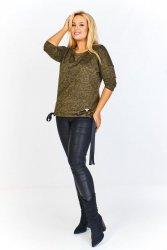 Melanżowy sweter z ozdobnymi kokardami po bokach