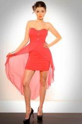 3001-1 Sukienka  z usztywnianymi miseczkami i tiulowym ogonem z tyłu - arbuzowy
