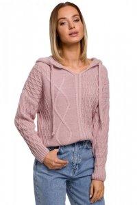 M540 Sweter z kapturem - różowy