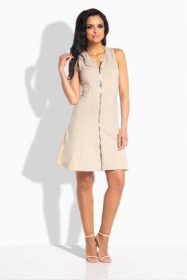 L183 sukienka z zamkiem beżowy