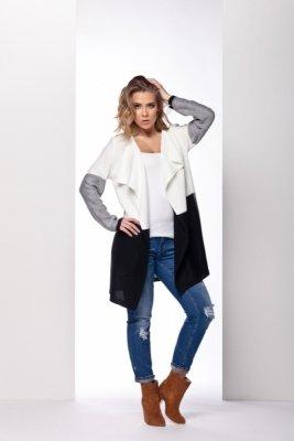 LS160 trójkolorowy sweter ecru-jasnoszary-czarny