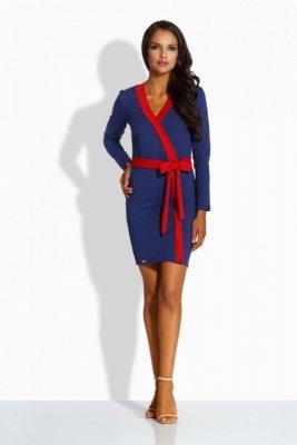 L221 sukienka z lamówką granatowy-czerwony