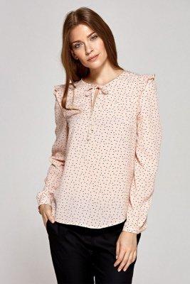Bluzka z wiązaną łezką na dekolcie - wzór/róż - CB09