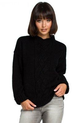 BK003 Sweter z warkoczem - czarny